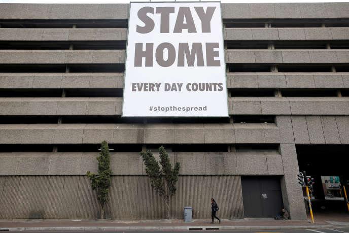 Dans le centre-ville du Cap, en Afrique du Sud, le 6 avril 2020.