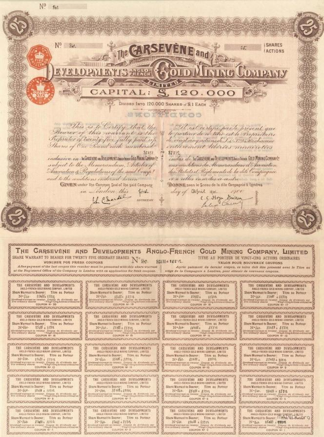 Titre de The Carsevène and Developments Anglo-French Gold Mining Company.
