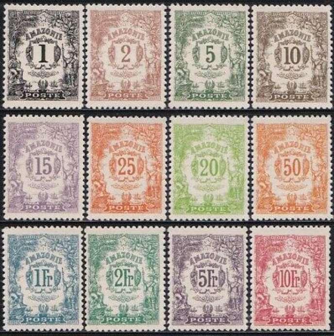 Sélection de timbres d'Amazonie.