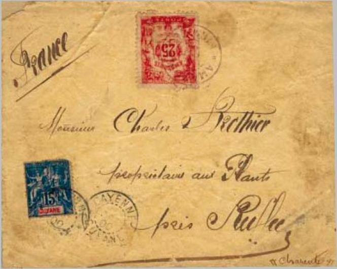 Affranchissement mixte Amazonie/Guyane française sur cette lettre avec oblitération datée de 1900.