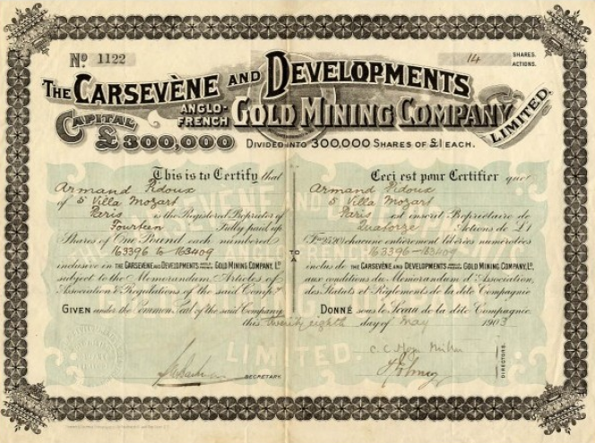 The Carsevène and Developments Anglo-French Gold Mining Company (1903).