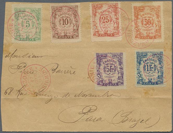 Lettre de Firmine pour Para, au Brésil, du 17 février 1901, avec timbres d'Amazonie, environ 4000 euros chez Christoph Gartner, vente du 30 mai 2016.« La seule connue», précise le vendeur, pour cette destination.