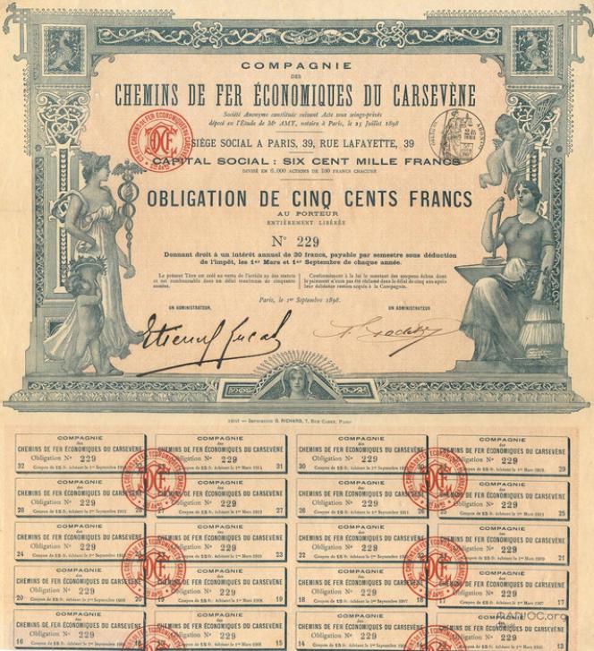 Obligation desChemins de fer économiques du Carsevène