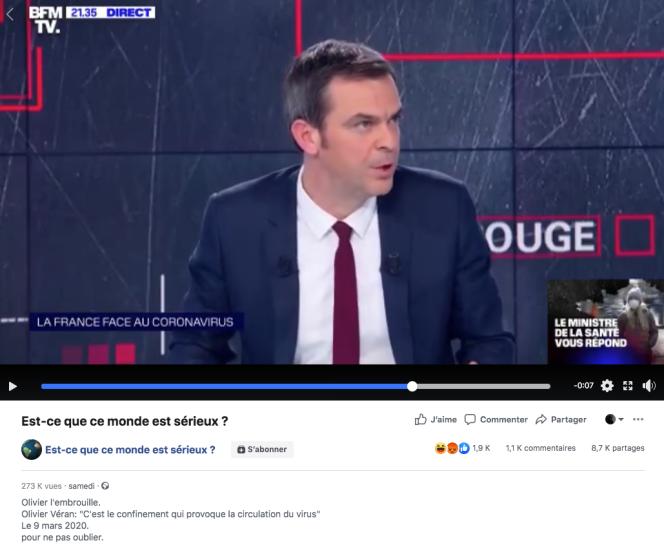 Olivier Véran, ministre de la santé, sur BFM-TV, le 9mars.