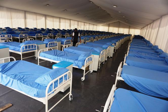 Un centre de quarantaine installé au stade Sani-Abacha de Kano, au Nigeria, le 7avril 2020.