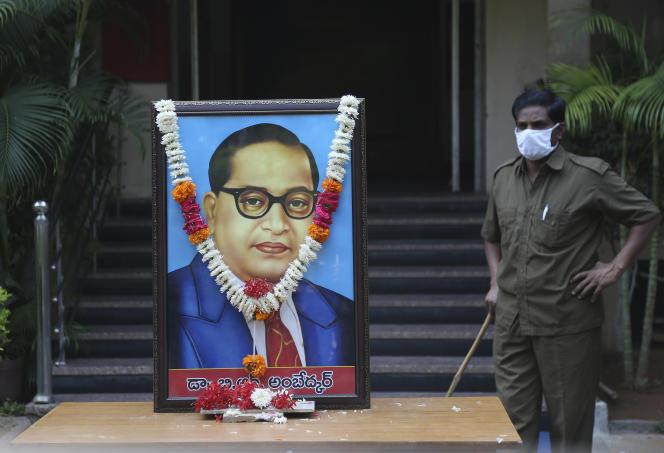 Lors de l'anniversaire de la naissance de Bhimrao Ambedkar (1891-1956), père de la Constitution indienne, le 14 avril, à Hyderabad.