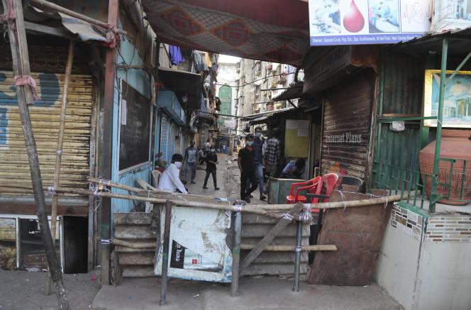 Dans le bidonville de Dharavi, le 9 avril à Bombay.