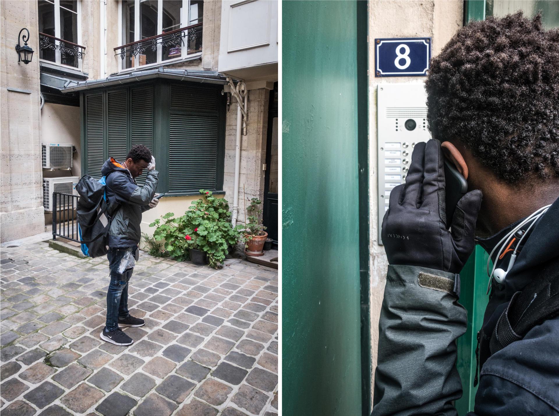 Livraisons dans l'arrière cour d'un immeuble du 5earrondissement et à la cité Veron, dans le 18earrondissement de Paris.
