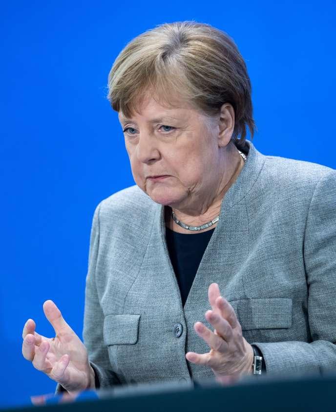 La chancelière allemande, Angela Merkel, lors d'une conférence de presse, à Berlin, le 15 avril.