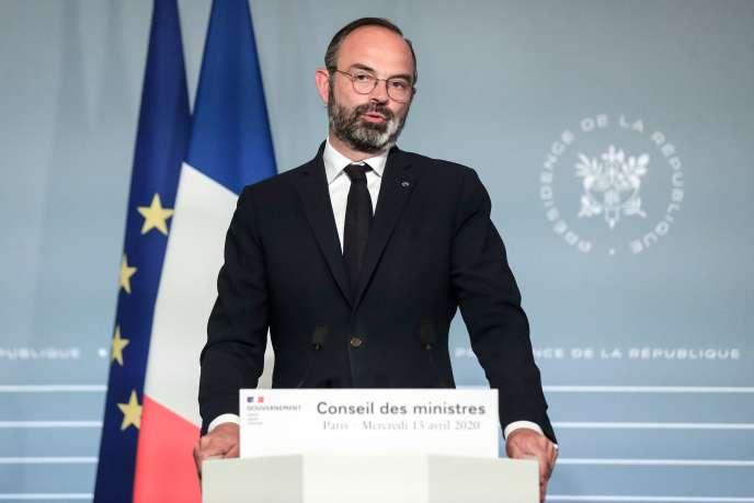 Le premier ministre, Edouard Phlippe, en conférence de presse, le 15 avril à l'Elysée.