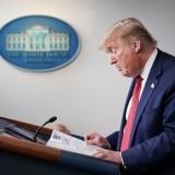 US President Donald Trump speaks during the daily briefing on the novel coronavirus, which causes COVID-19, in the Brady Briefing Room of the White House on April 16, 2020, in Washington, DC. / AFP / MANDEL NGAN