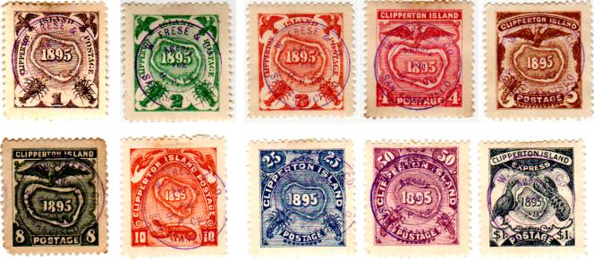 Série des dix timbres émis en 1895 pour le courrier au départ de Clipperton.
