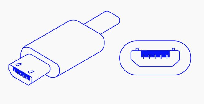 Vues latérale et frontale d'un connecteur micro-USB.