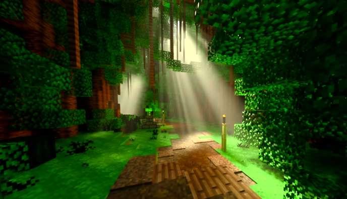 En exploitant les cartes graphiques RTX,« Minecraft» simule le déplacement de la lumière de manière réaliste.