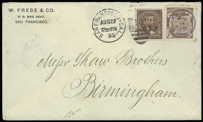 3250 dollars pour cette lettre à en-tête de W. Frese, de 1895, affranchissement mixte Clipperton/Etats-Unis, vendue chez Siegel, en 2006.