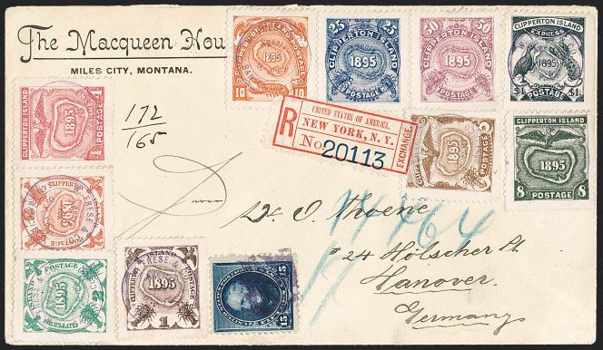Rare lettre avec la série complète de 1895 pour l'Allemagne, affranchissement mixte (timbre américain), en vente chez Siegel, en 2019, sous l'estimation (2000/3000 dollars) à 1100 dollars.