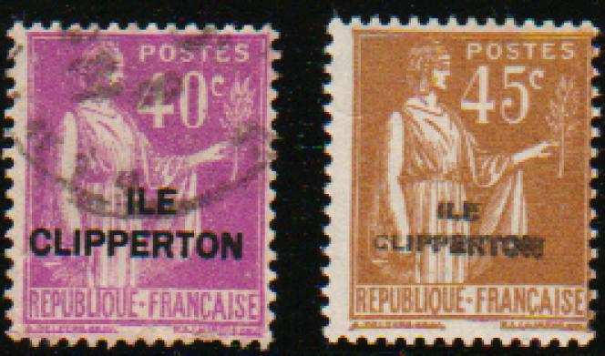 Timbres français au type« Paix» surchargés «Clipperton».