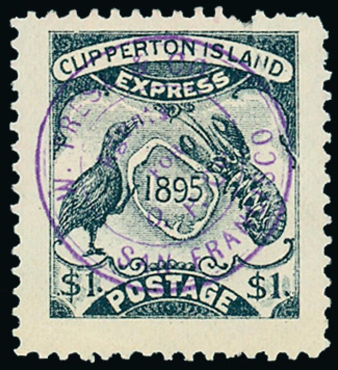 Une des dix valeurs émise pour affranchir le courrier au départ de Clipperon. Annulation avec tampon de l'agent de l'Oceanic Phosphate Company, W. Frese, à l'arrivée à San Francisco où ce courrier transite.