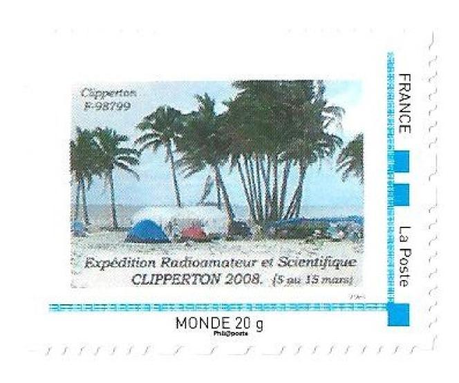 Timbre personnalisé émis en 2008 à l'initiative de Clipperton-Projets d'outre-mer.