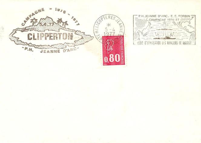 Pli de la «Jeanne-d'Arc» passée par Clipperton en 1977.