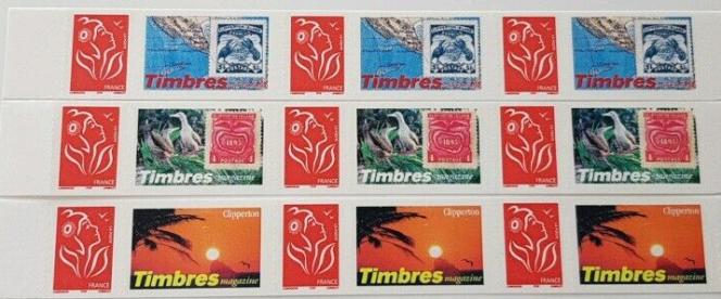 Série de timbres personnalisés parus en 2005 à l'initiative de Timbropresse dont le directeur, Gauthier Toulemonde, participa à une expédition à Clipperton avec Jean-Louis Etienne quelques mois plus tôt.
