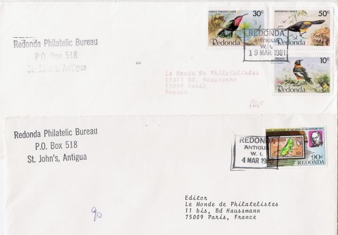Courriers du« service philatélique de Redonda» de 1980 et 1981.