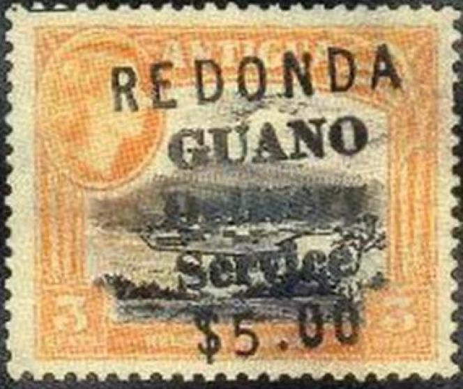 Timbre de fantaisie dont la surcharge renvoie à l'exploitation du guano sur Redonda.