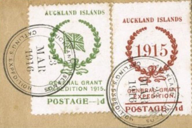 Timbres des îles Auckland, en Océanie, oblitérés, sur fragment (1915).