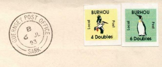 Timbres de Burhou sur fragment, oblitération témoin de Sark (Sercq)/Guernesey de 1993.