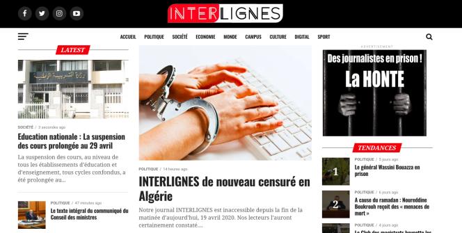 La page d'accueil du site d'information algérien Interlignes le 20 avril 2020.