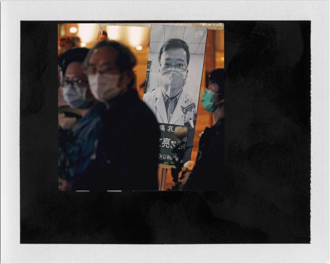 Une veillée tenue à Hong Kong, après le décès du docteur et lanceur d'alerteLi Wenliang,le 7février;
