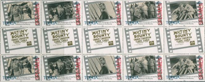 « Les Révoltés du Bounty», film (1935) avec Charles Laughton, timbres de Tonga (1985).