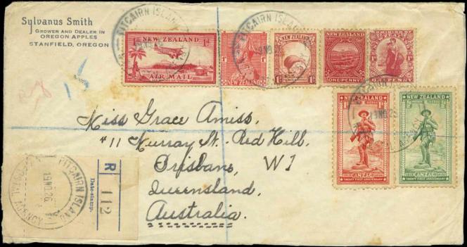 150 livres pour cette lettre de Pitcairn avec un cachet erroné indiquant 1926 au lieu de 1936!...