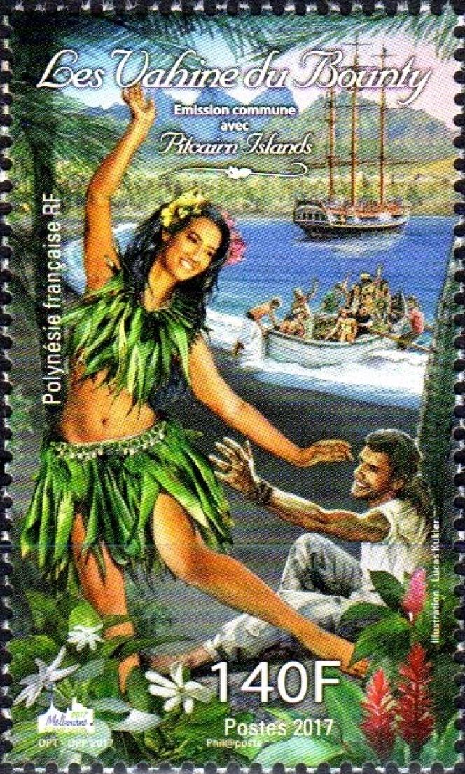 Vahinés essayant d'échapper à un marin et en fond, «Le Bounty». Emission conjointe « kitchissime» de Polynésie française avec les îles Pitcairn (2017).
