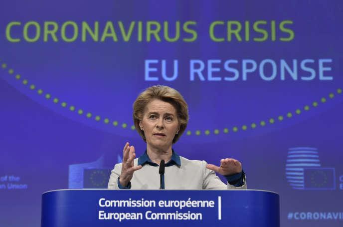 Ursula von der Leyen à Bruxelles, le 15 avril 2020.