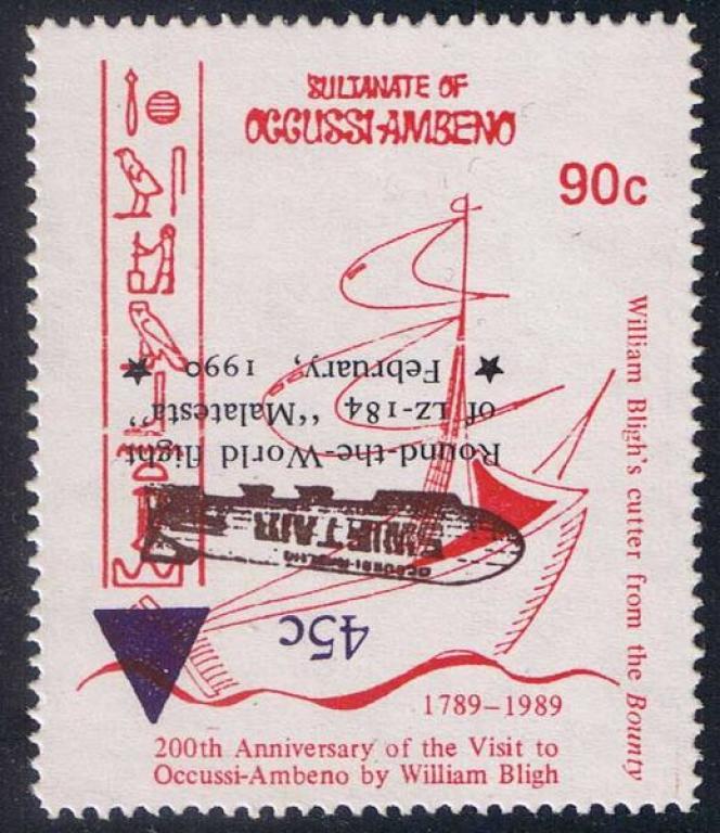Vignette de fantaisie aux allures de timbres du pseudo sultanat d'Occussi-Ambeno sur le« Bounty».
