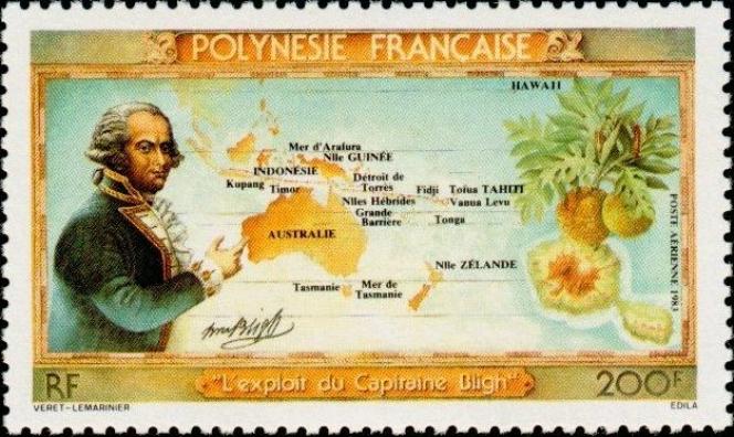 « L'exploit» de Bligh (1754-1817), qui rejoint Timor sur une chalopupe de fortune après avoir été abandonné par les révoltés du« Bounty». Timbre de Polynésie française (1983).