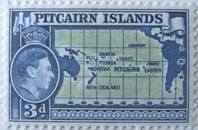 Pitcairn Islands, timbre de 1940 qui localise l'archipel.
