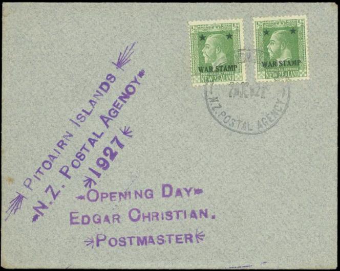 Enveloppe peu courante de 1927, première année de l'utilisation des timbres de Nouvelle-Zélande,« premier jour» le 7 juin, 210 livres sterling en octobre 2010.