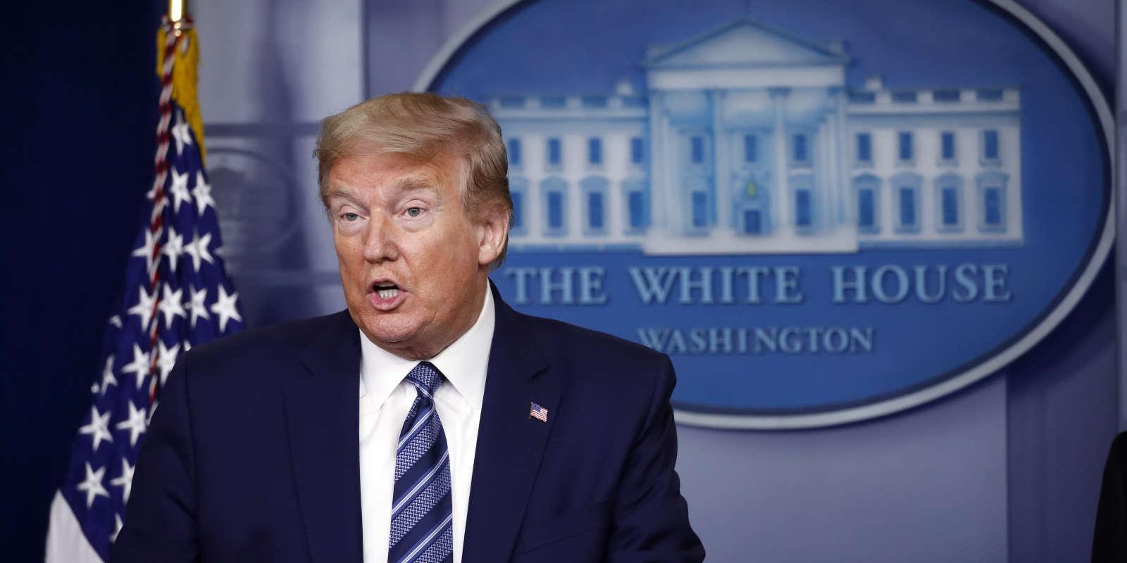 Conférence de presse du président des Etats-Unis, Donald Trump, à la Maison Blanche, à Washington, le 21 avril.