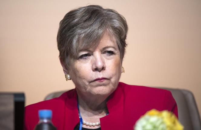 Alicia Barcena, secrétaire générale de la Commission économique pour l'Amérique latine et les Caraïbes, le 10 décembre 2018, àMarrakech.