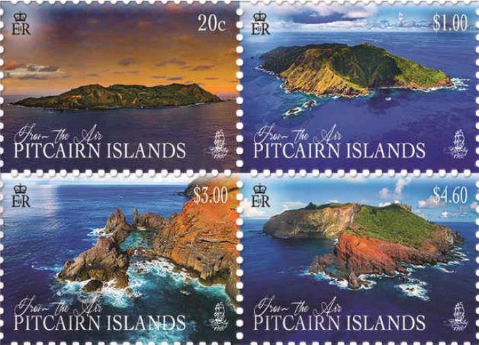 Parmi les derniers timbres émis par Pitcairn, des vues aériennes de l'archipel (2018).