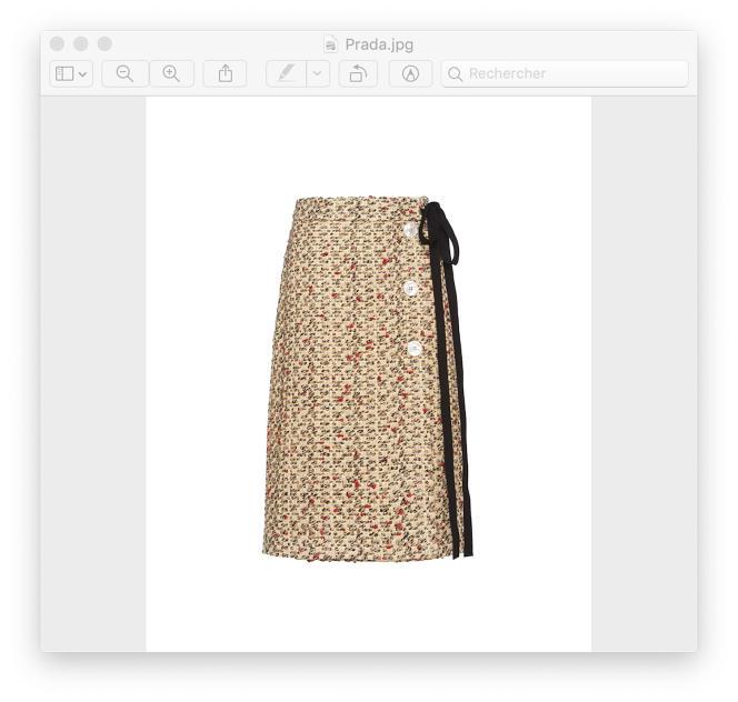 Jupe en tweed lamé, Prada, 1100€.