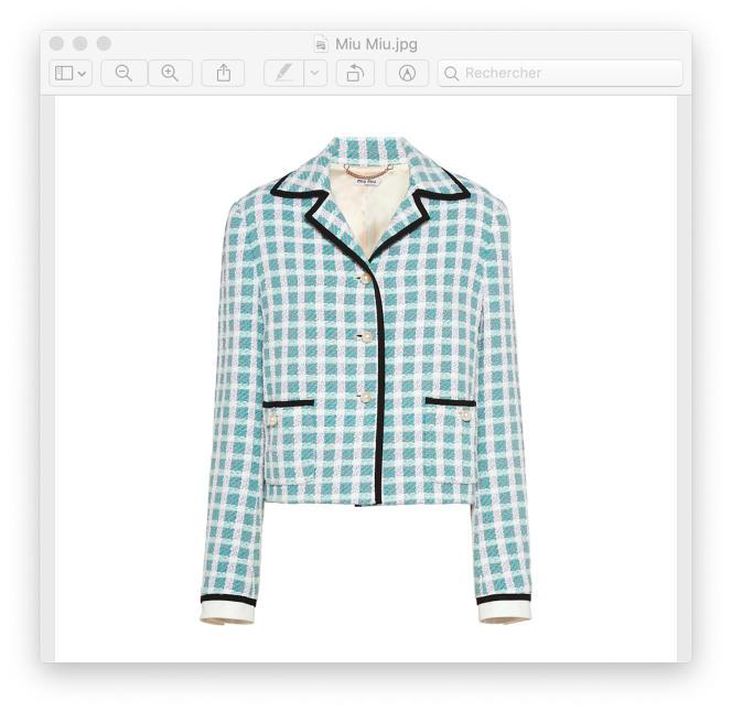 Veste droite en tweed avec bordure gros grain, Miu Miu, 1990€.