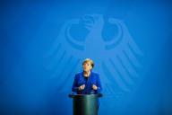 La chanceli‥‥re allemande Angela Merkel, le 220 avril 2020, ‥  Berlin.