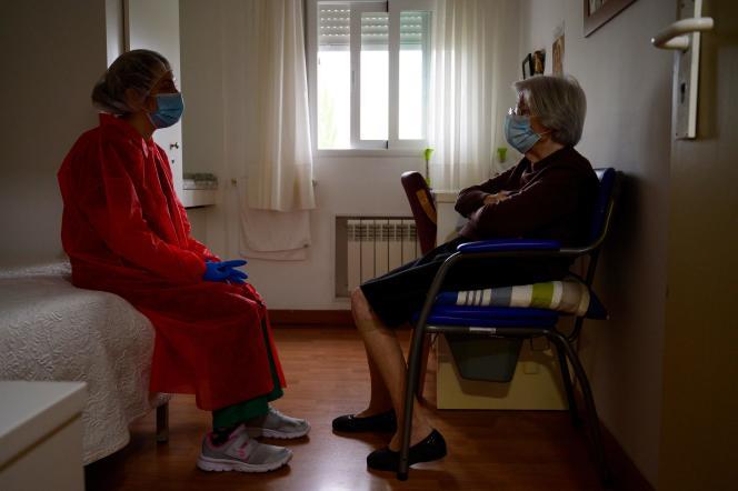 Dans une maison de retraite espagnole, àPozuelo de Alarcon près de Madrid, le 15 avril.