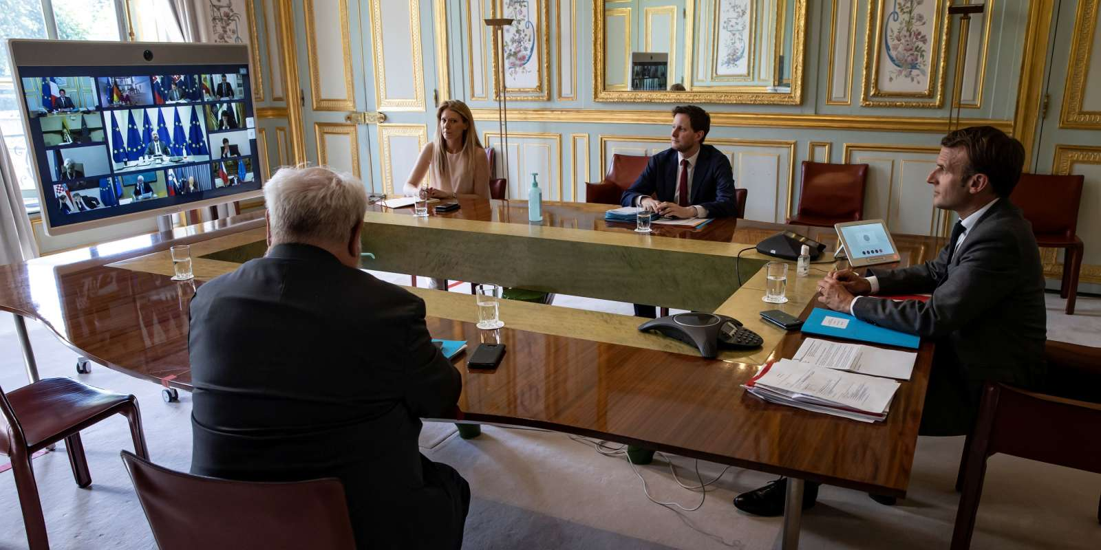 French President Emmanuel Macron attends a video conference with members of the European Council, amid the outbreak of COVID-19 disease, at the Elysee Palace in Paris, France April 23, 2020. Ian Langsdon/Pool via REUTERS