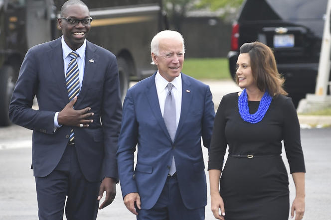 Joe Biden et Gretchen Whitmer à Southfield, dans le Michigan, pendant la campagne pour les élections de mi-mandat, le 12 septembre 2018.