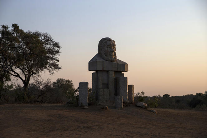 A l'entrée du parc Kruger, le buste de Paul Kruger.