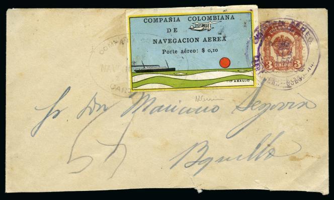 1400 euros chez Feldman, en Suisse, pour cette lettre revêtue d'un timbre de la Compania colombiana de navegacion aerea de 1920.